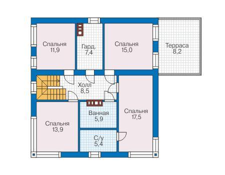 Проект бетонного дома 58-88 план