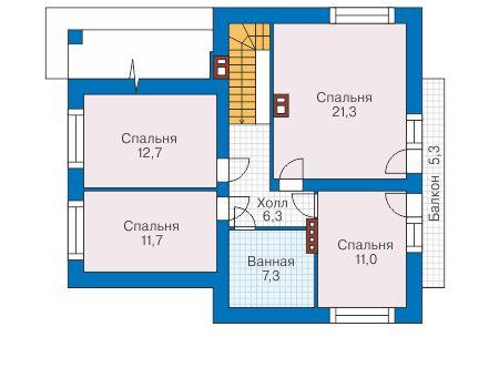 Проект бетонного дома 58-89 план