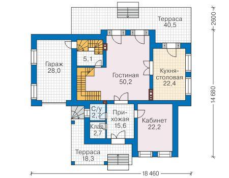 Проект бетонного дома 58-92 план
