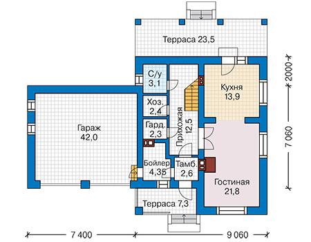 Проект бетонного дома 58-93 план