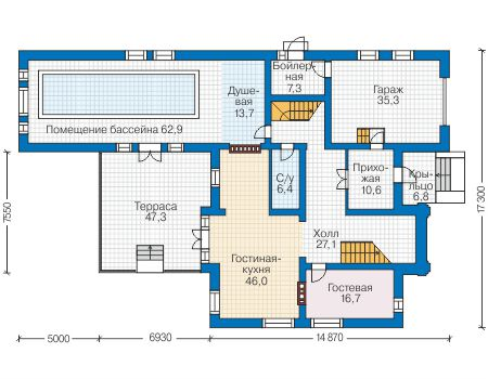 Проект бетонного дома 58-99 план