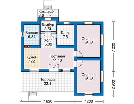 Проект бетонного дома 59-02 план
