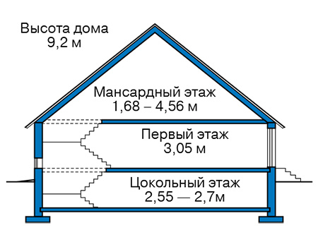 Проект бетонного дома 59-20 план