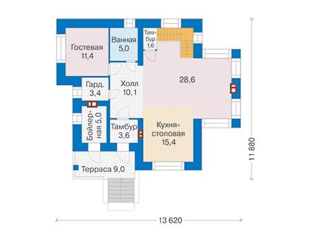 Проект бетонного дома 59-43 план