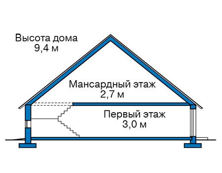 Проект бетонного дома 59-55 план