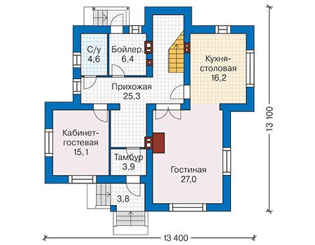 Проект бетонного дома 59-63 план