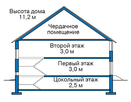 Проект бетонного дома 59-87 план