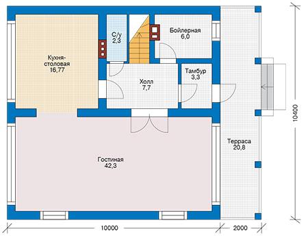 Проект бетонного дома 59-88 план