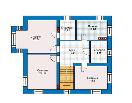 Проект бетонного дома 59-96 план