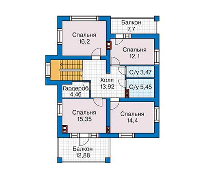 Проект бетонного дома 60-05 план