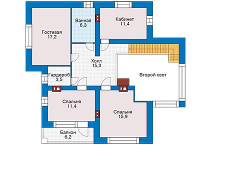 Проект бетонного дома 60-15 план