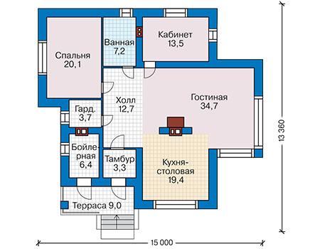 Проект бетонного дома 60-23 план