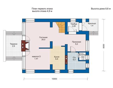 Проект кирпичного дома 70-42 план