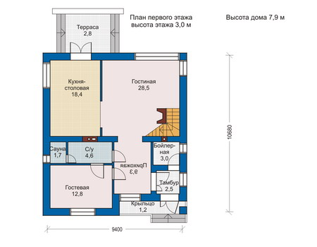 Проект кирпичного дома 70-44 план