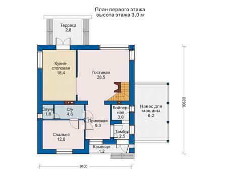 Проект кирпичного дома 70-45 план