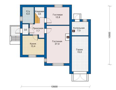 Проект кирпичного дома 70-49 план