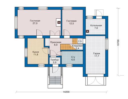 Проект кирпичного дома 70-51 план
