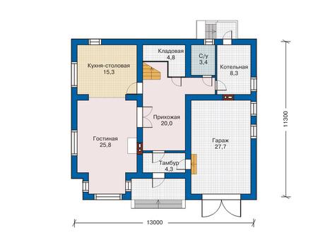 Проект кирпичного дома 70-57 план