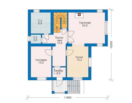 Проект кирпичного дома 70-71 план