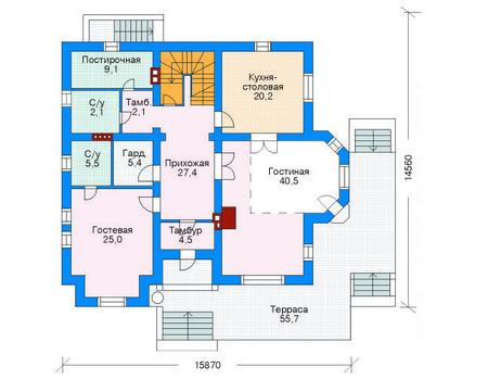 Проект кирпичного дома 70-75 план