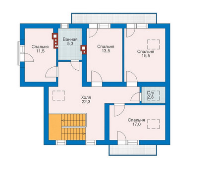 Проект кирпичного дома 70-77 план
