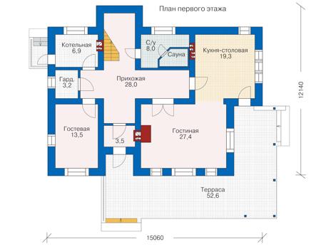 Проект кирпичного дома 70-80 план