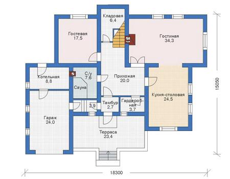 Проект кирпичного дома 70-87 план
