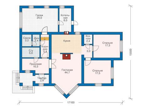 Проект кирпичного дома 70-93 план