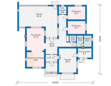 Проект кирпичного дома 70-95 план