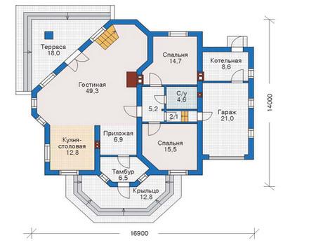 Проект кирпичного дома 71-08 план