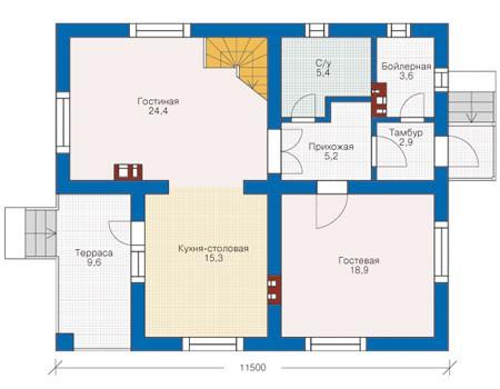 Проект кирпичного дома 71-17 план