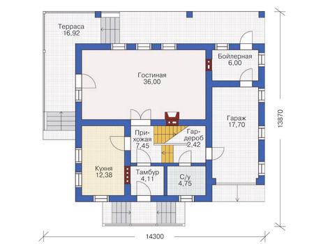 Проект кирпичного дома 71-19 план
