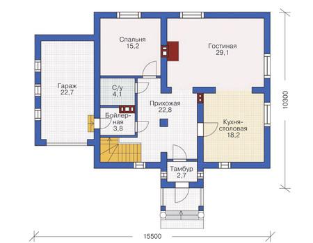 Проект кирпичного дома 71-22 план