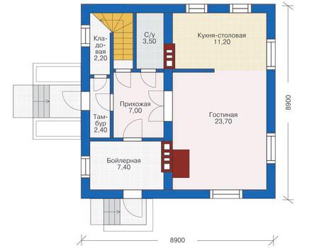 Проект кирпичного дома 71-24 план