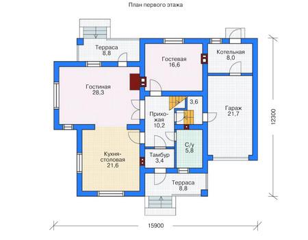 Проект кирпичного дома 71-32 план