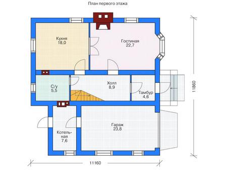 Проект кирпичного дома 71-42 план