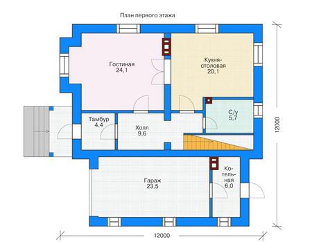 Проект кирпичного дома 71-45 план