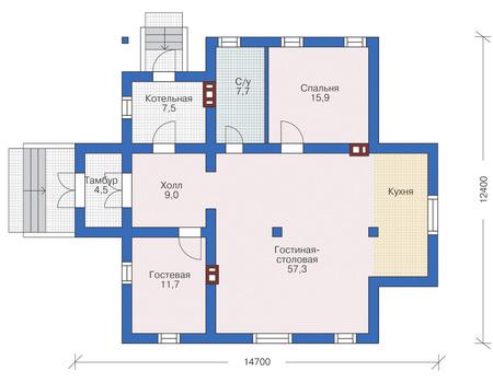 Проект кирпичного дома 71-55 план