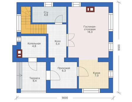 Проект кирпичного дома 71-56 план