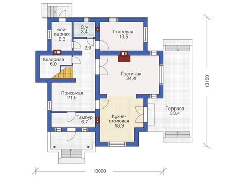 Проект кирпичного дома 71-61 план