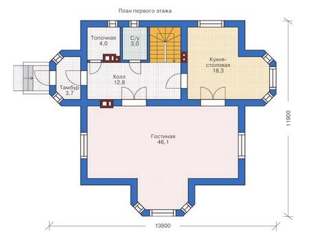 Проект кирпичного дома 71-81 план
