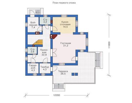Проект кирпичного дома 71-82 план