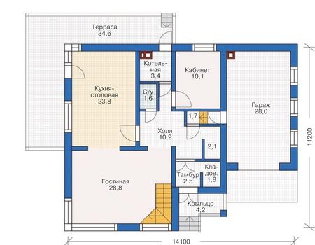 Проект кирпичного дома 72-00 план