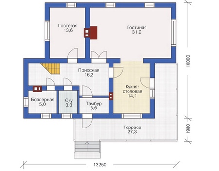 Проект кирпичного дома 72-07 план
