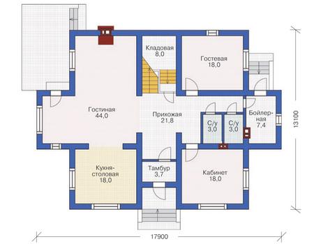 Проект кирпичного дома 72-08 план