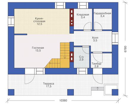 Проект кирпичного дома 72-12 план