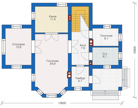 Проект кирпичного дома 72-13 план