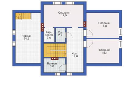 Проект кирпичного дома 72-18 план