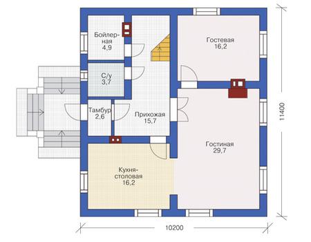 Проект кирпичного дома 72-22 план