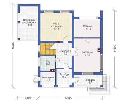 Проект кирпичного дома 72-26 план